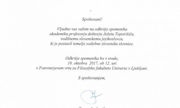 Odkritje spomenika dr. Jožetu Toporišiču