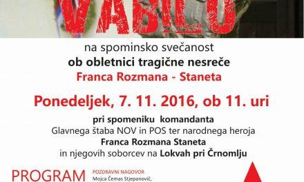 Lokve pri Črnomlju, obletnica nesreče komandanta Staneta, 7. 11.