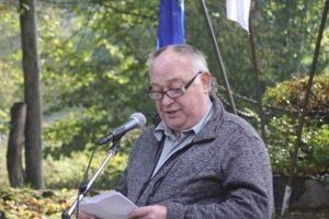 Milan Gorjanc, član predsedstva ZZB NOB Slovenije, na prireditvi Dan spomina, Žiri, 22. oktober 2016