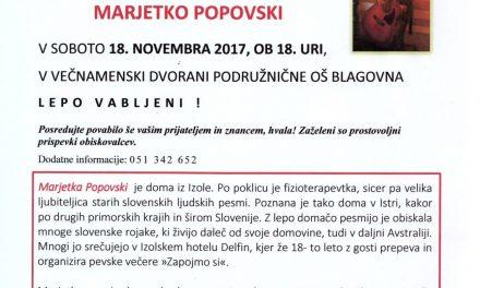 Večer partizanskih pesmi z Marjetko Popovski
